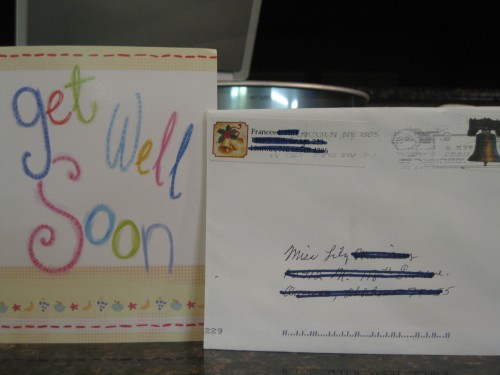 "Mail addressed to ""Miss Lily M."" -- a Get Well Soon card from Grandma H"