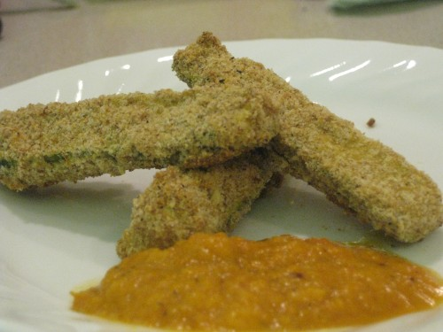 Parmesan Zucchini Sticks with Smoky Roasted Romesco Sauce